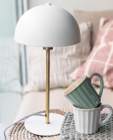 Lámpara mesa seta blanca