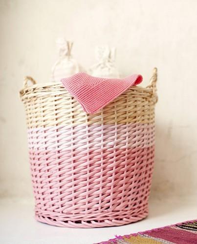 Cesto de mimbre rosa deco living - Cesto para mantas ...
