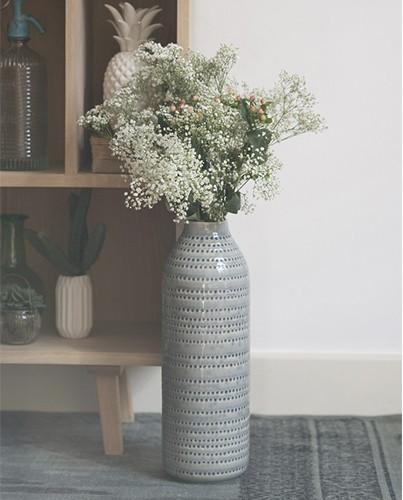 Jarron alto gris circulos deco living - Jarron decorativo alto ...