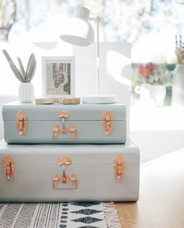 Set ba les de metal vintage deco living - Baules decorativos ...