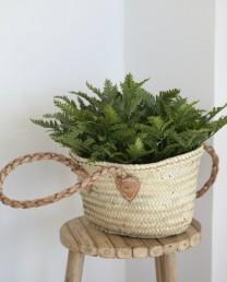 cesta asa de cuero trenzado