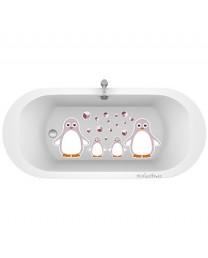 Antideslizante bañera pingüinos berenjena