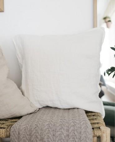Cojín lino blanco textura