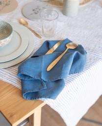 Mantel lino rayas navy 140x250