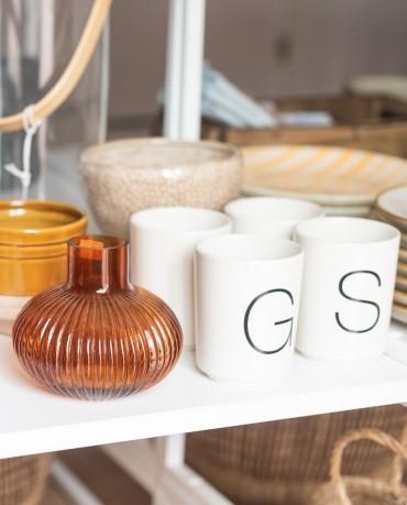 Vasos porcelana letras