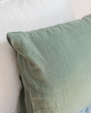 Funda Cojín lino verde caza 30x40
