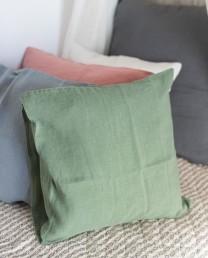 Cojín lino verde caza 50x50