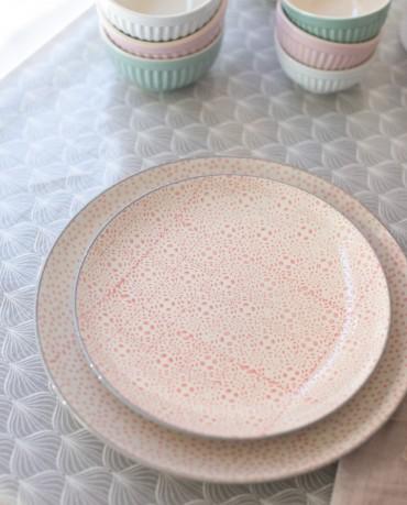 Plato geométrico rosa Ø20