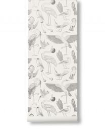 Papel Pintado Pájaros Blanco