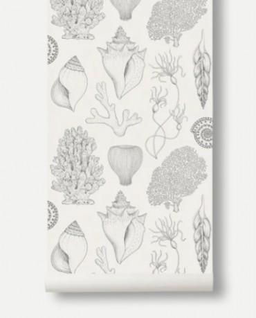 Papel Pintado Conchas Blanco