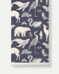 Papel Pintado Animales Azul Marino