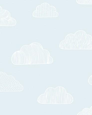 Papel Pintado Nubes Verde Agua