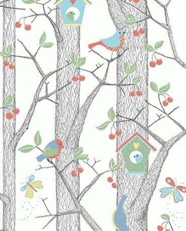 Papel Pintado Pajaritos azules