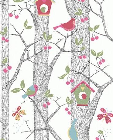 Papel Pintado Pajaritos rosas