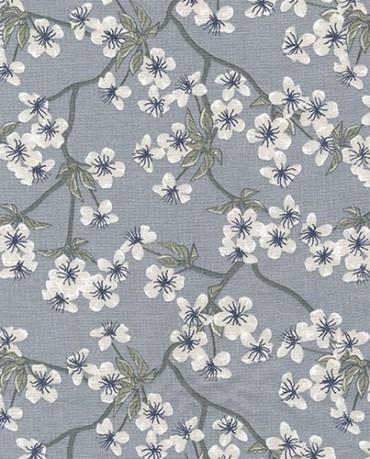 Hule Flores Gris Azulado