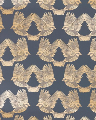 Papel Pintado Bird Azul y Oro