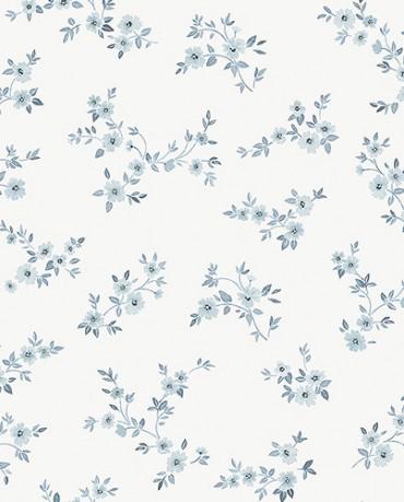 Papel Pintado flores contemporáneas azul