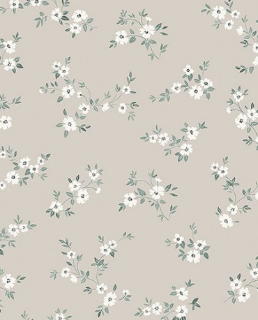 Papel Pintado flores contemporáneas blancas