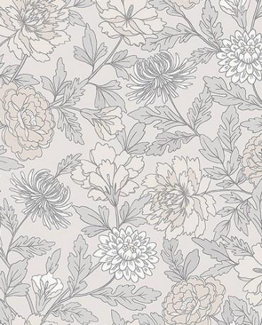 Papel Pintado floral beige