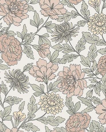 Papel Pintado floral blanco