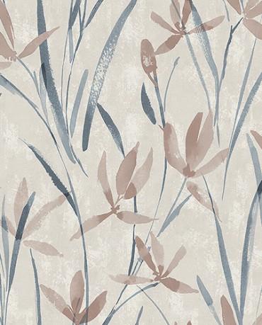 Papel Pintado hojas acuarela beige