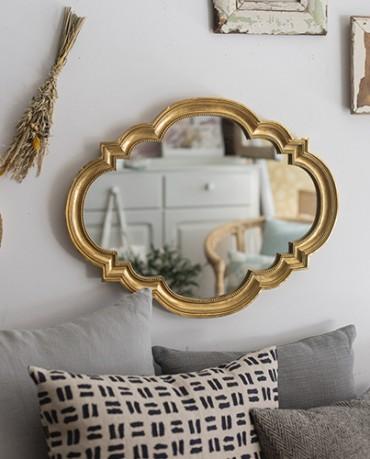 Espejo retro dorado