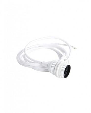 Cable de tela blanco para bombilla e27